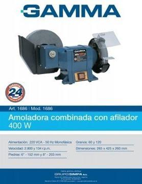 Imagen de Amoladora De Banco Combinada Gamma 6-8  C/afilador - Ynter