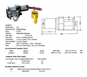 Imagen de Aparejo Saca Peludo 12 Volt2000 Lbs- Ynter Industrial