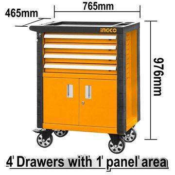 Imagen de Gabinete carro taller metal 4 estantes Ingco - Ynter Industrial