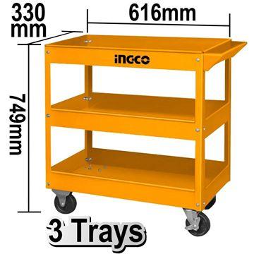Imagen de Carro herramientas taller metal 3 estantes Ingco - Ynter Industrial