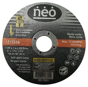 Imagen de DISCO ABRASIVO DE CORTE ACERO/ACERO 125 x1.6 NEO - Ynter Industrial