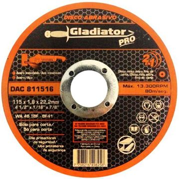Imagen de Disco abrasivo de corte acero/acero inox 115 x 1,6 x 22,2mm Gladiator- Ynter Industrial