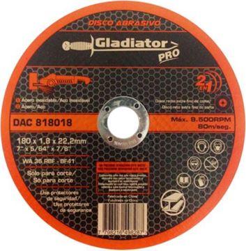 Imagen de Disco abrasivo de corte acero/acero inox 180 x 1,8 x 22,2mm Gladiator- Ynter Industrial