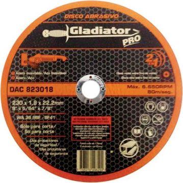 Imagen de Disco abrasivo de corte acero/acero inox 230 x 1,8 x 22,2mm Gladiator- Ynter Industrial