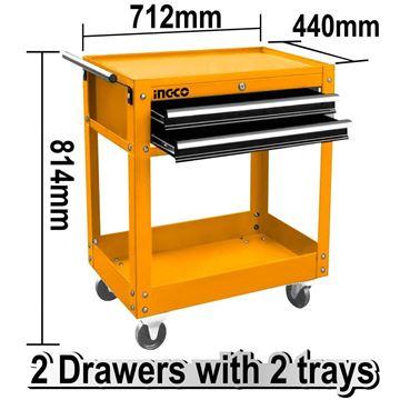 Imagen de Carro herramientas taller metal 2 bandejas Ingco - Ynter Industrial