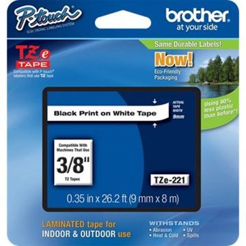 Imagen de Cinta para rotuladora de etiquetas Brother TZ-221 9mm l.negra-Ynter