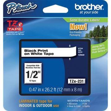 Imagen de Cinta para rotuladora de etiquetas Brother  TZe-231 12mm l.negra-Ynter