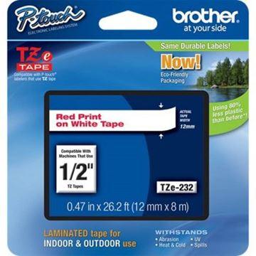 Imagen de Cinta para rotuladora de etiquetas Brother TZ-232 12mm l.rojas-Ynter