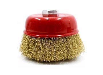 Imagen de Cepillo copa bronceado 80MM eje rosca M14 -Ynter Industrial