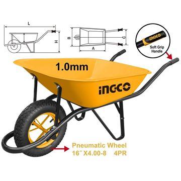 Imagen de Carretilla 130 kg rueda neumática Ingco - Ynter Industrial