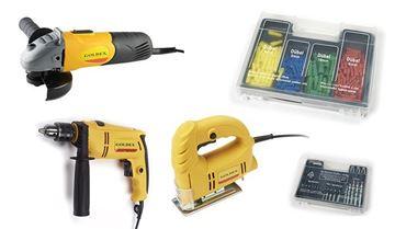 Imagen de Kit de amoladora -taladro y sierra caladora + 309 acc. PTK03F Goldex- Ynter Industrial