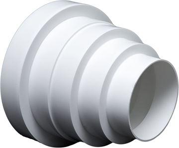 Imagen de Cono reductor PVC blanco p/corrugado de extractor 100/110/125mm-Ynter