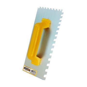Imagen de Llana acero p/yeso dentada 12 x 35cm cabo PVC Momfort - Ynter Industrial
